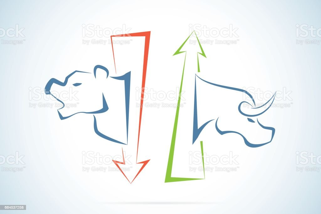 bull and bear symbols with green and red arrows stock market and