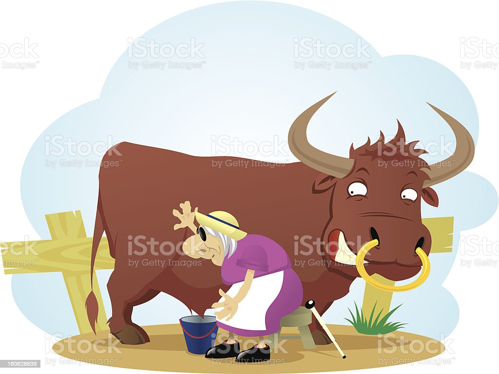 Bull and blind dairymaid royalty-free bull and blind dairymaid stock vector art & more images of adult