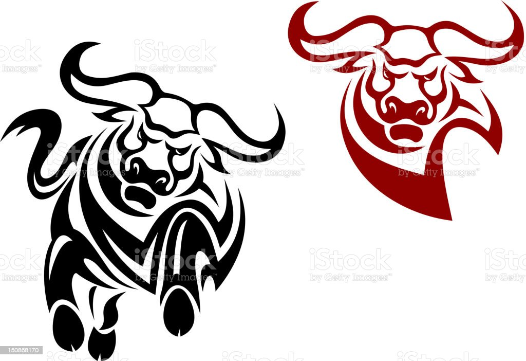 Bull and buffalo mascots royalty-free stock vector art