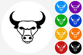 Bull and Horns Icon on Flat Color Circle Buttons. This 100% royalty free vector illustration features the main icon pictured in black inside a white circle. The alternative color options in blue, green, yellow, red, purple, indigo, orange and black are on the right of the icon and are arranged in two vertical columns.