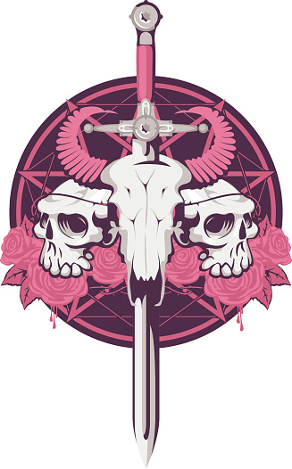 bull and human skull with sword
