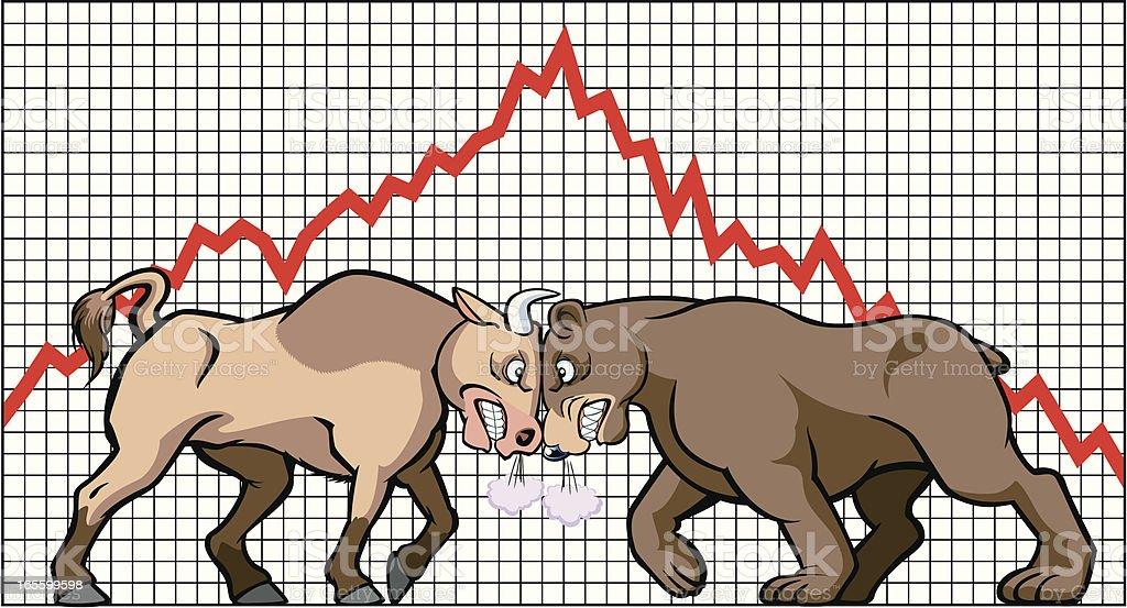 Bull & Bear royalty-free bull bear stock vector art & more images of anger