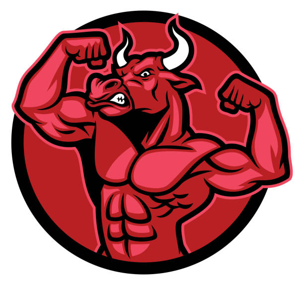 Bull bodybuilder pose and showing his muscular body vector art illustration