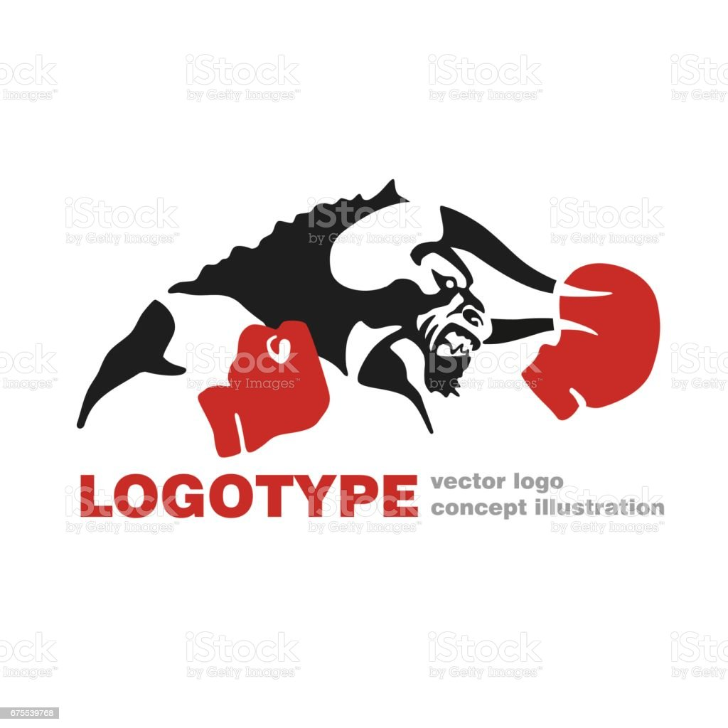 Bull Boxhandschuhe Vektorlogo Vorlage Kreative Illustration Bull ...
