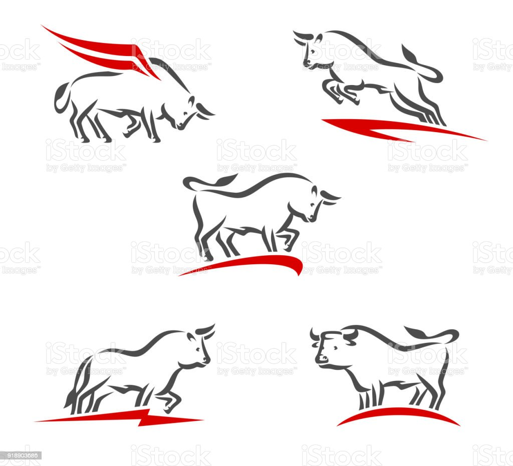 Bull collection set. Vector vector art illustration