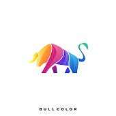 Bull Colorful Illustration Vector Template. Suitable for Creative Industry, Multimedia, entertainment, Educations, Shop, and any related business.