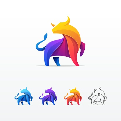 Bull Colorful Origami Style Vector