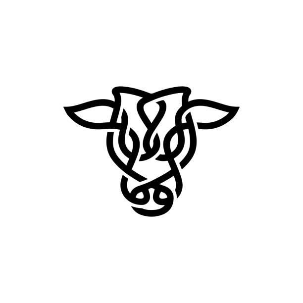 ilustrações de stock, clip art, desenhos animados e ícones de bull / cow / angus / cattle head with celtic style design inspiration - beef angus