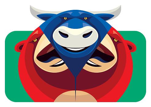bull emerging from bear mask