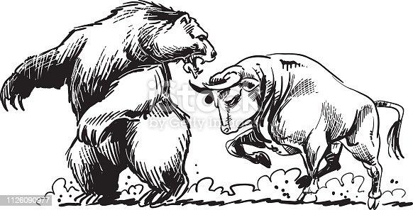A bull fighting a bear