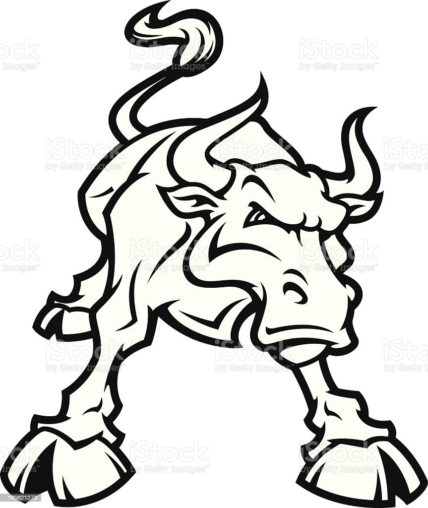 Bull Fighting Stance B&W vector art illustration