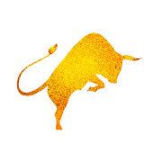 Bull golden silhouette - stand on its legs. Bull logo - vector illustration