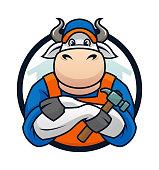 Bull Handyman Mascot Cartoon Character Vector Emblem