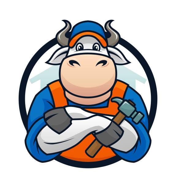 Bull Handyman Mascot Cartoon Character Bull Handyman Mascot Cartoon Character Vector Emblem pipefitter illustrations stock illustrations