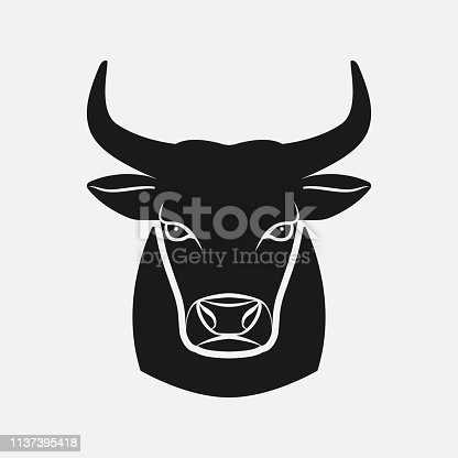 Bull head black silhouette. Farm animal icon. vector illustration - eps 8