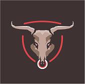 Vector illustration of a bull s head wild animal