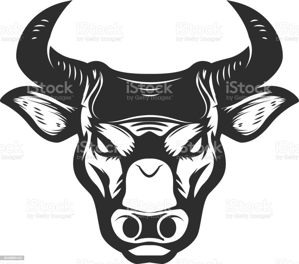 Bull head icon isolated on white background. vector art illustration