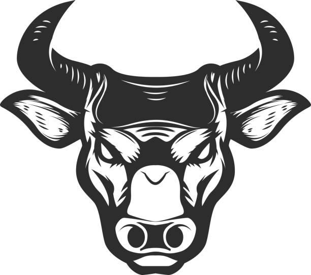 Bull head icon isolated on white background. Bull head icon isolated on white background. Design element for poster, t-shirt, emblem, sign. Vector illustration female animal stock illustrations