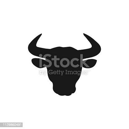 Bull head black silhouette on white background. Vector illustration.