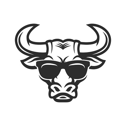 Bull head in sunglasses mascot. Cool Buffalo