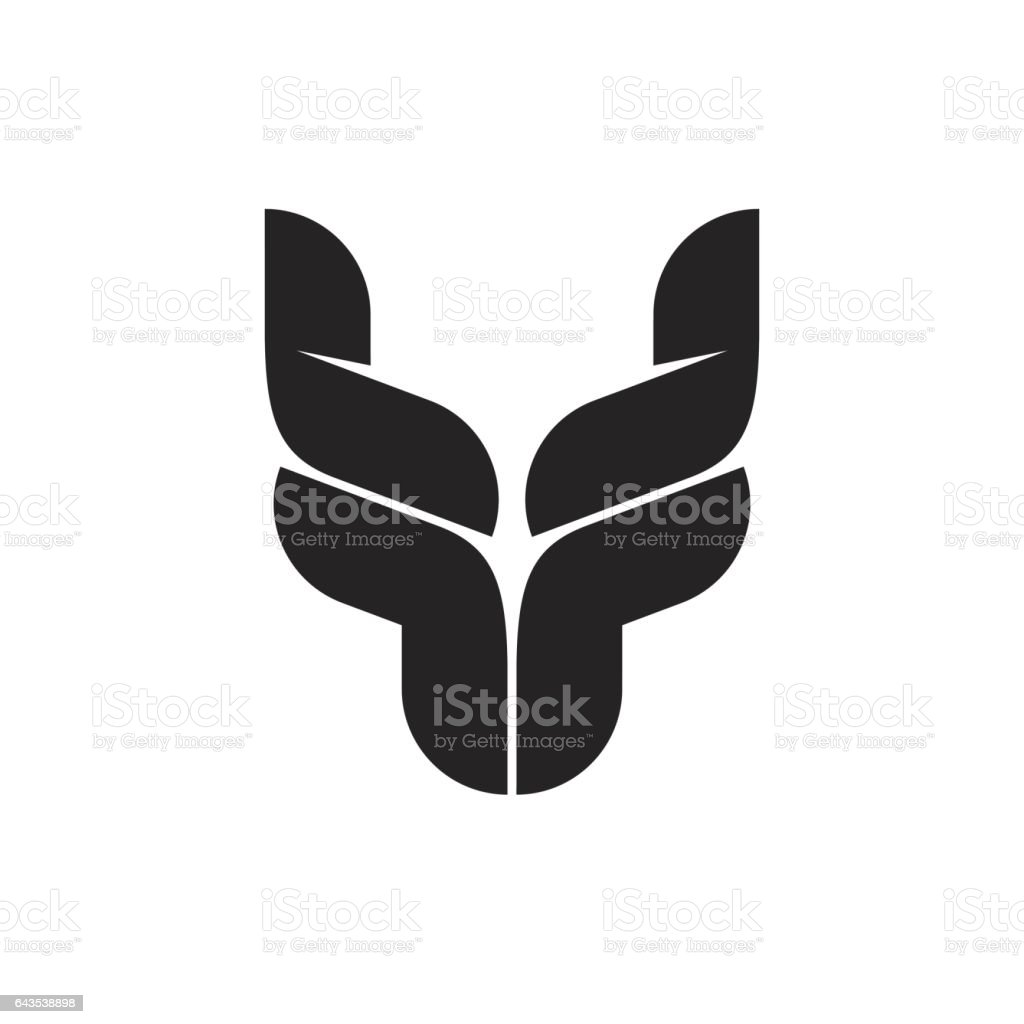 Bull head logo symbol, black bull horns emblem, ox head shape, breeding cattle logotype vector art illustration