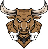 vector illustration of bull head mascot