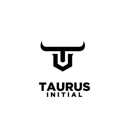 bull horn head taurus initial letter t u symbol icon design vector illustration white background
