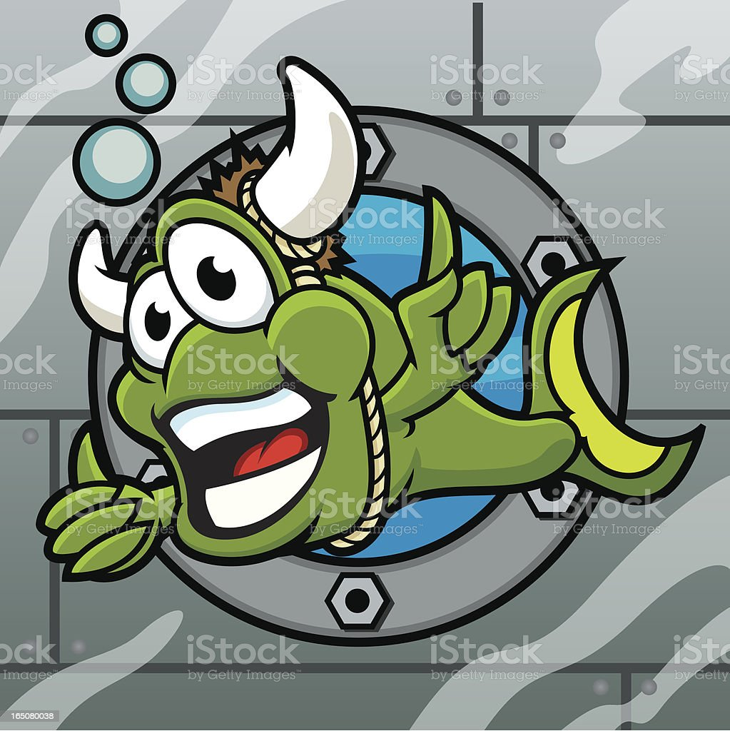 Bull Horned Fish vector art illustration