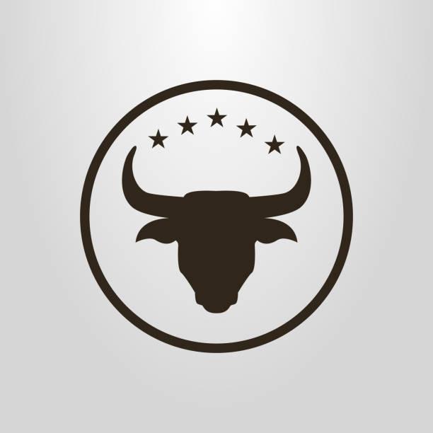 ilustraciones, imágenes clip art, dibujos animados e iconos de stock de icono de toro en un marco circular - rodeo