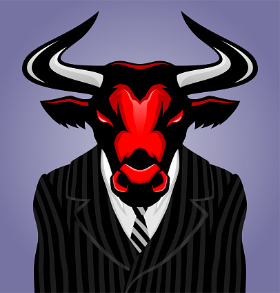 Bull in a striped suit with a tie.