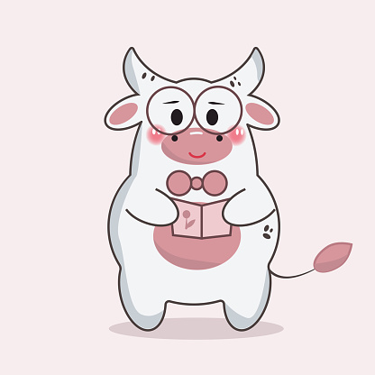 bull Kawai reading a book with glasses and smiling, white cartoon bull holding a postcard