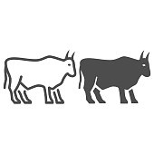 Bull line and solid icon, Farm animals concept, cattle sign on white background, Bull silhouette icon in outline style for mobile concept and web design. Vector graphics