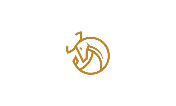 illustrations, cliparts, dessins animés et icônes de bull ligne art logo icône vector - cornu