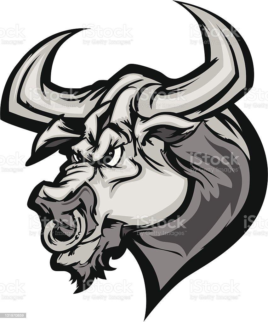 Bull Longhorn Mascot Head Vector Cartoon royalty-free stock vector art