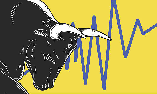 stockillustraties, clipart, cartoons en iconen met bull market artwork icon business concept - bullmarkt