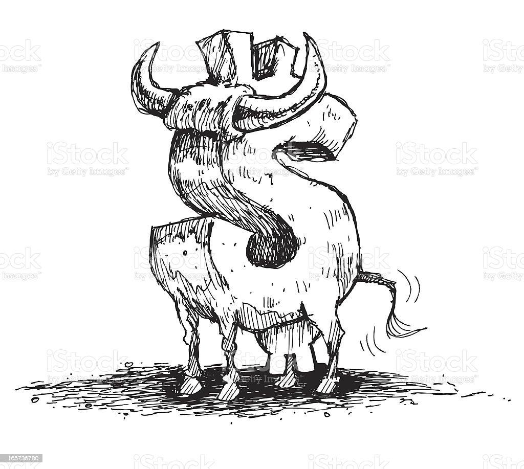 Bull Market - Cash Cow vector art illustration