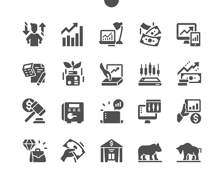 Bull market, investment chance. Investor. Stock market statistics. Business and financial concept. Vector Solid Icons. Simple Pictogram