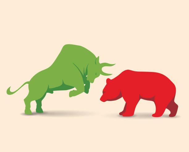 Bullenmarkt VS Bärenmarkt – Vektorgrafik