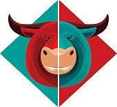 vector illustration of bull mascot…