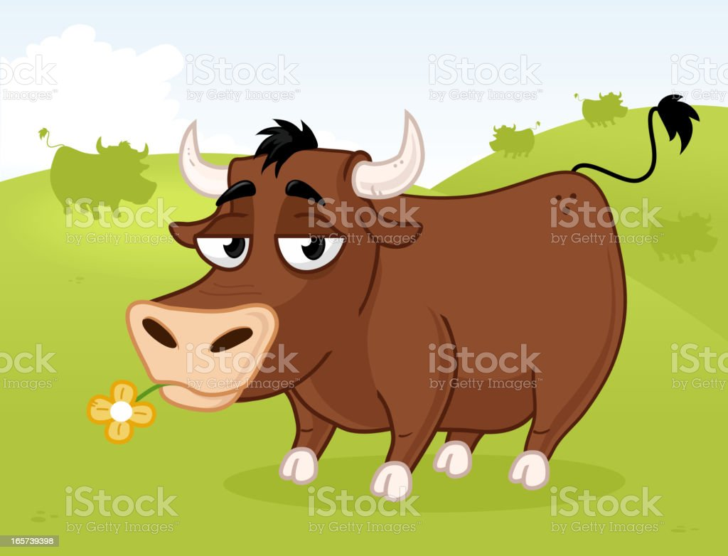 Bull On The Hill royalty-free stock vector art