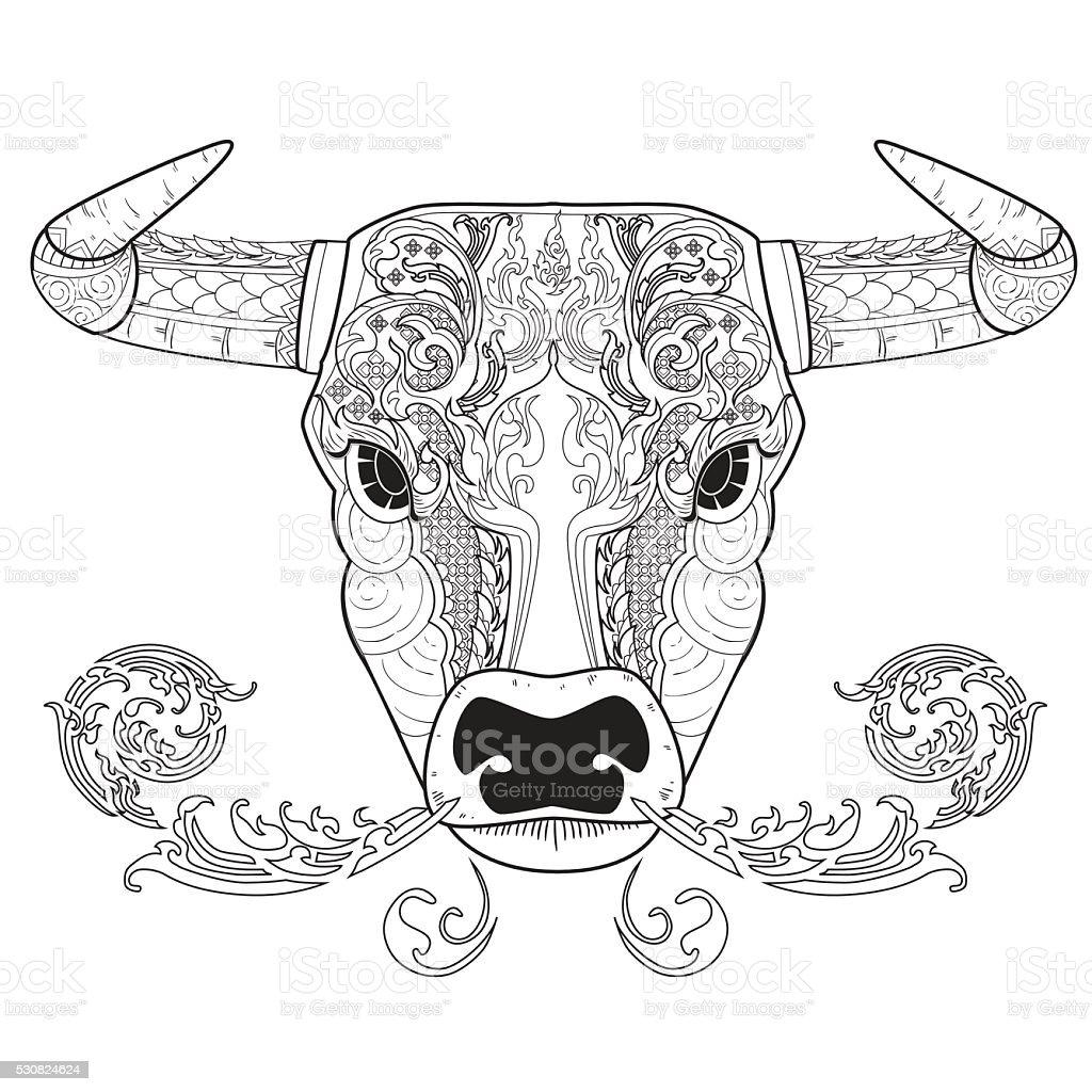 Ilustración De Toro Contorno Para Colorear Y Más Vectores