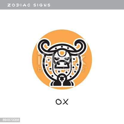 Bull Ox Vector Icon Zodiac Sign Symbol Of Chinese Astrological