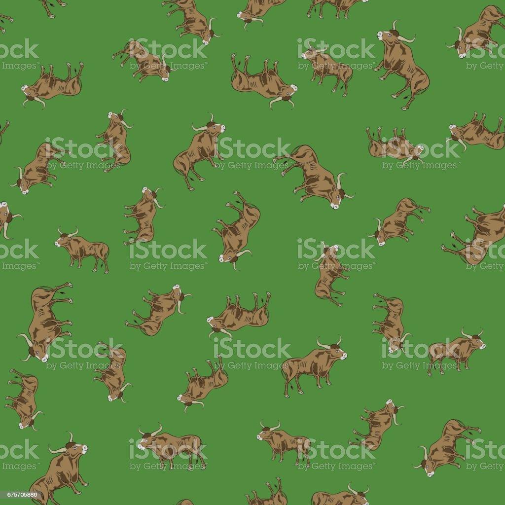公牛隨機無縫模式 免版稅 公牛隨機無縫模式 向量插圖及更多 houilles corrida 圖片