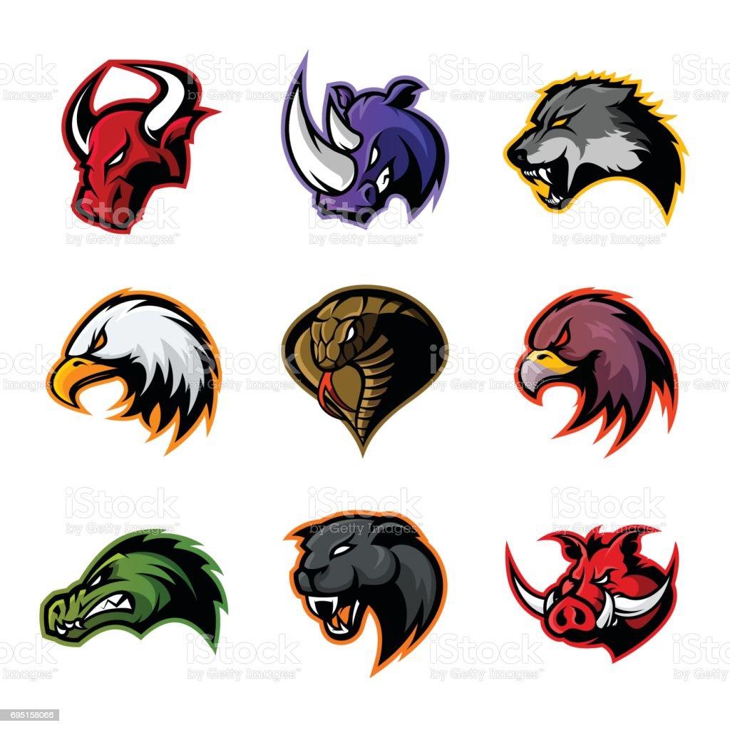 Bull, rhino, wolf, eagle, cobra, alligator, panther, boar head isolated vector concept. vector art illustration