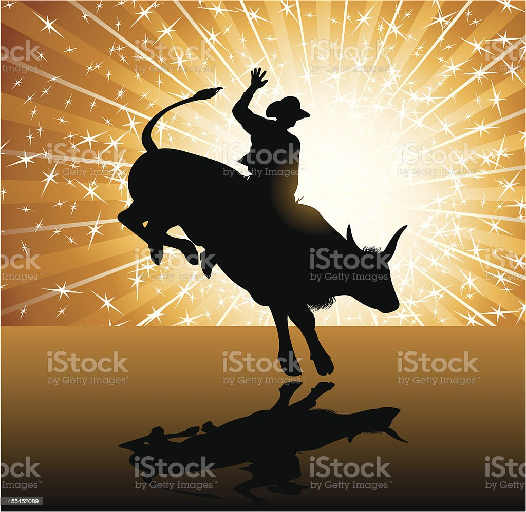 Bull Rider - Rodeo Cowboy Background vector art illustration