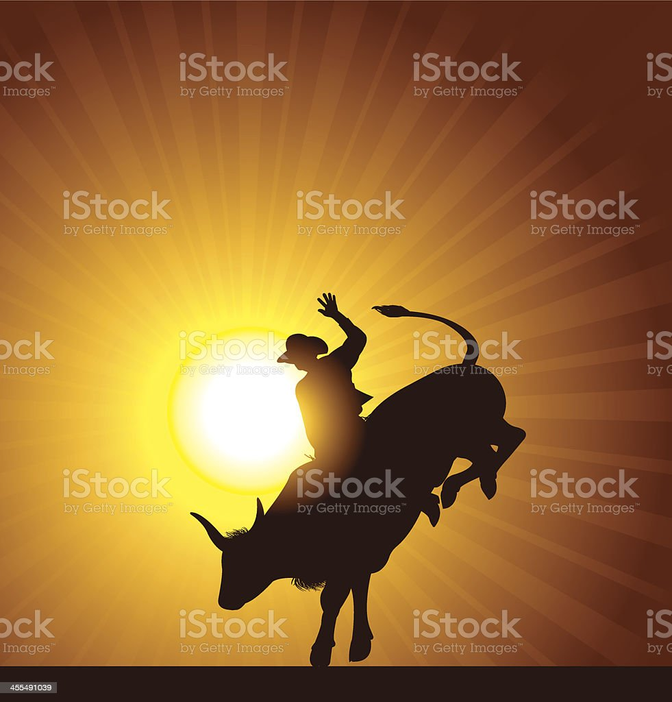 Bull Rider - Rodeo Cowboy Background vector art illustration