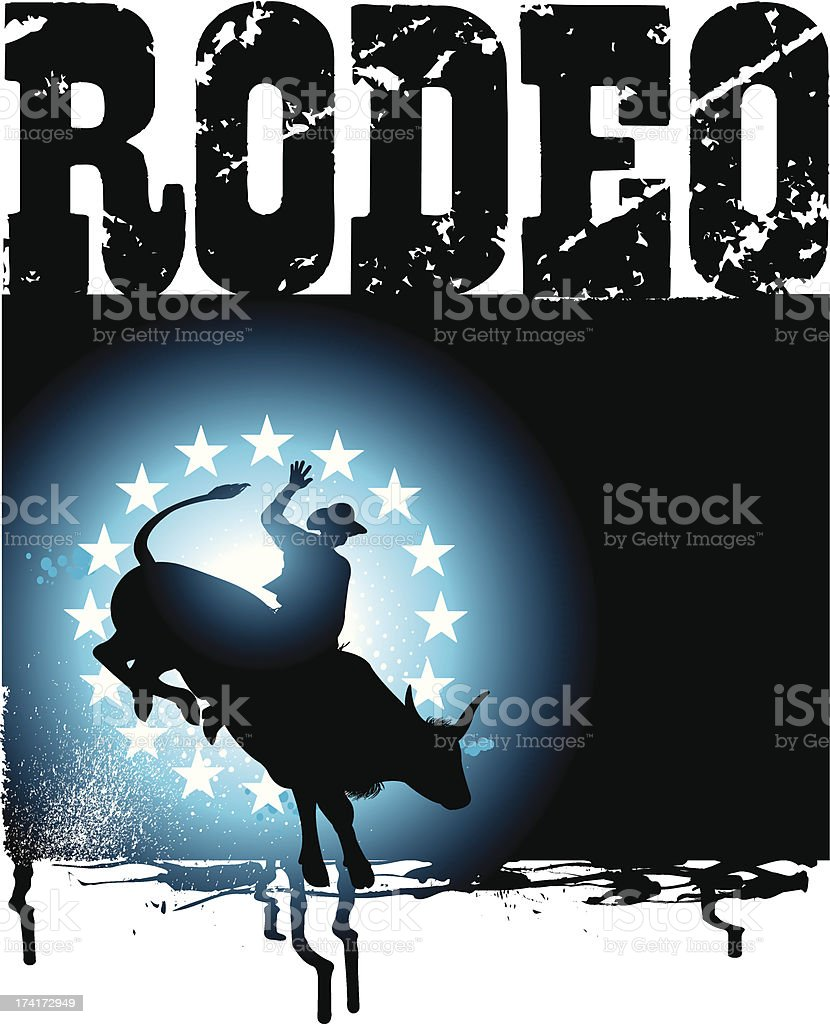 Bull Rider - Rodeo Cowboy Grunge Graphic Background vector art illustration