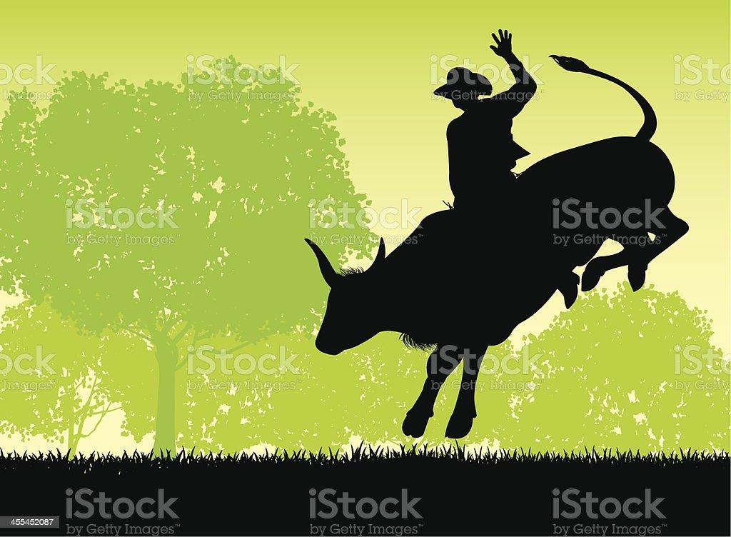 Bull Rider - Rodeo Cowboy vector art illustration