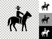 istock Bull Riders Icon on Checkerboard Transparent Background 1263003147