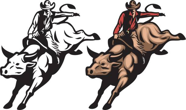 bull riding - rodeo stock illustrations, clip art, cartoons, & icons